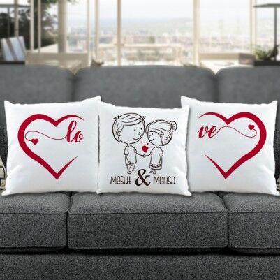 - Sevgililere Özel Love Temalı 3'lü Yastık Seti