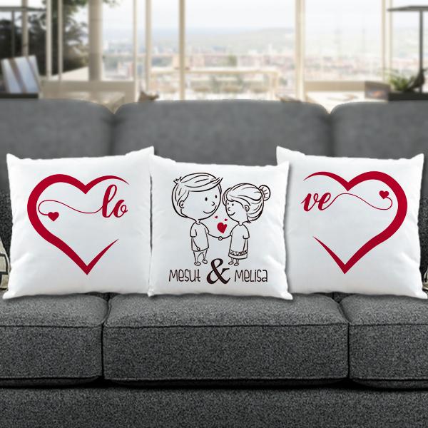 Sevgililere Özel Love Temalı 3'lü Yastık Seti