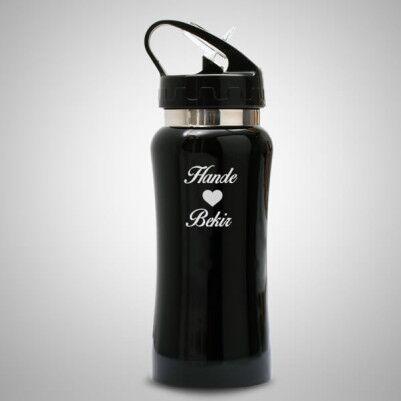 - Sevgililere Özel Matara Siyah 20 Cm.