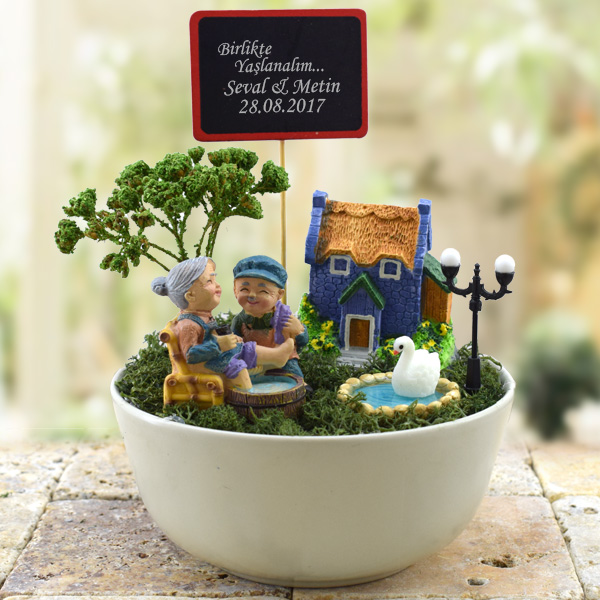 Sevgililere Özel Mesajlı Minyatür Bahçe