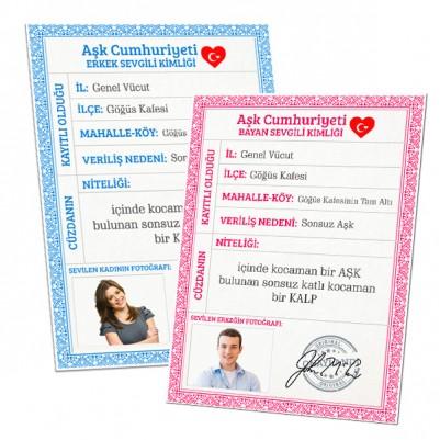 Sevgililere Özel Nüfus Cüzdanı Kimlik Belgesi - Thumbnail