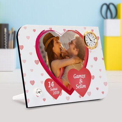 Sevgililere Özel Resimli Saatli Çerçeve - Thumbnail