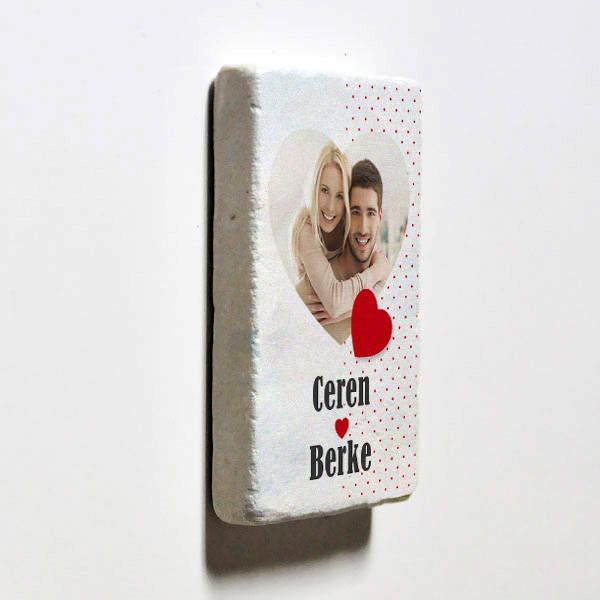 Sevgililere Özel Taş Buzdolabı Magneti