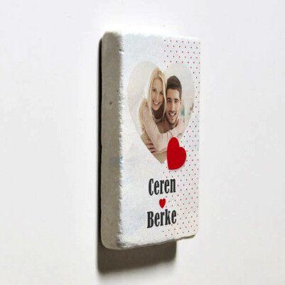 Sevgililere Özel Taş Buzdolabı Magneti - Thumbnail