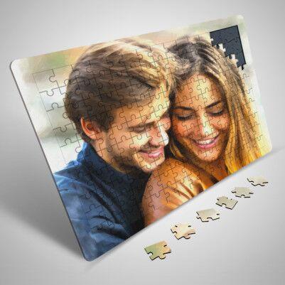 - Sevgililere Özel Yağlı Boya Efektli Puzzle