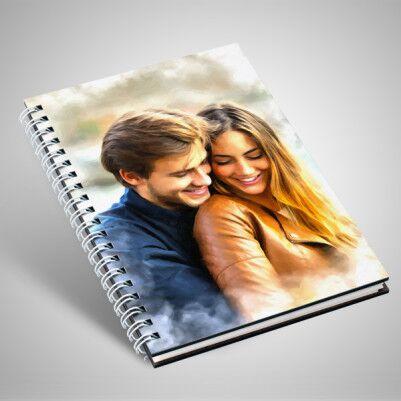 - Sevgililere Özel Yağlı Boya Efektli Sevgili Defteri