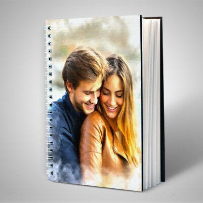 Sevgililere Özel Yağlı Boya Efektli Sevgili Defteri - Thumbnail