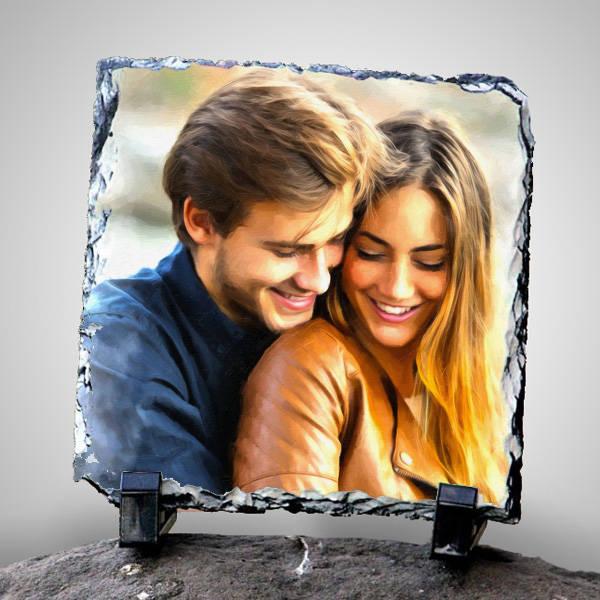 Sevgililere Özel Yağlı Boya Efektli Taş Baskı