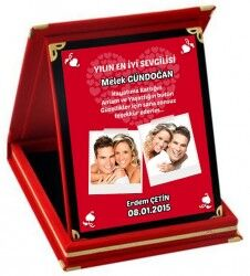 Sevgililere Özel Fotoğraf ve Mesajlı Plaket - Thumbnail
