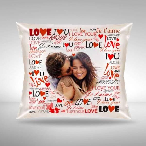 Sevgililere Özel Fotoğraflı Aşk Kare Yastık
