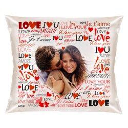 Sevgililere Özel Fotoğraflı Aşk Kare Yastık - Thumbnail