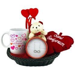 Sevgilime Özel Aşk Dolu Hediye Sepeti - Thumbnail
