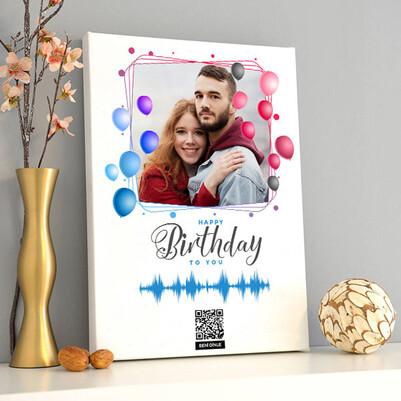 Sevgilime Yaş Günü Hediyesi Ses İzi Kanvas Tablo - Thumbnail