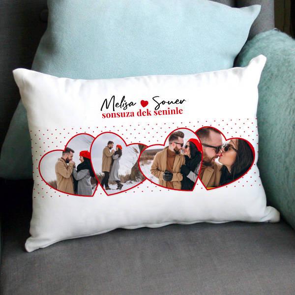Sevgiliye Hediye 4 Fotoğraflı Romantik Yastık