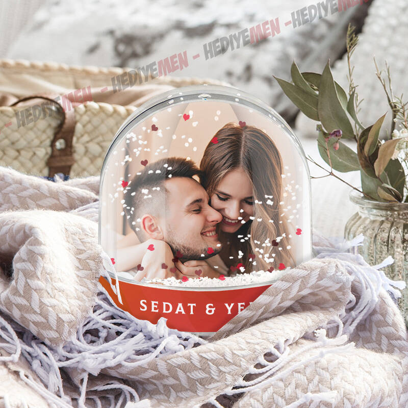 Sevgiliye Hediye Fotoğraflı Kar Küresi