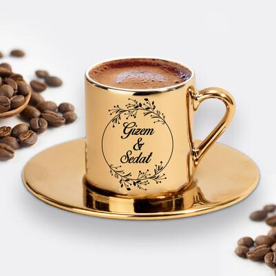 Sevgiliye Hediye İsimli Gold Kahve Fincanı - Thumbnail