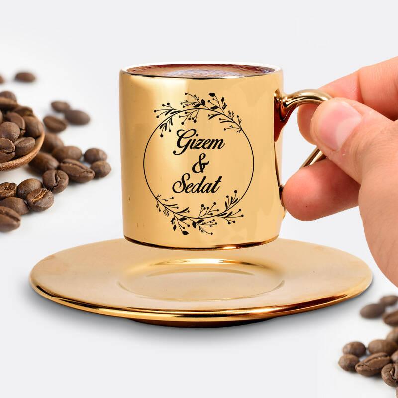 Sevgiliye Hediye İsimli Gold Kahve Fincanı