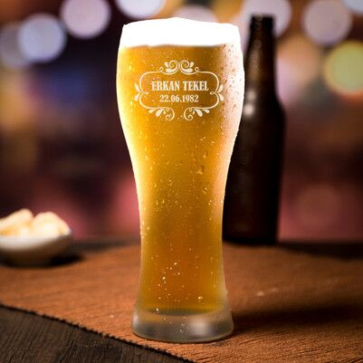 - Sevgiliye Hediye İsme Özel Uzun Bira Bardağı