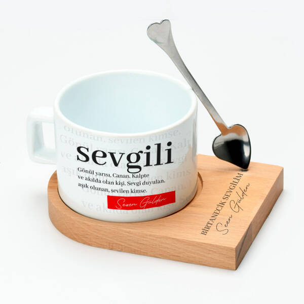 Sevgiliye Hediye Kaşıklı Lüks Çay Fincanı