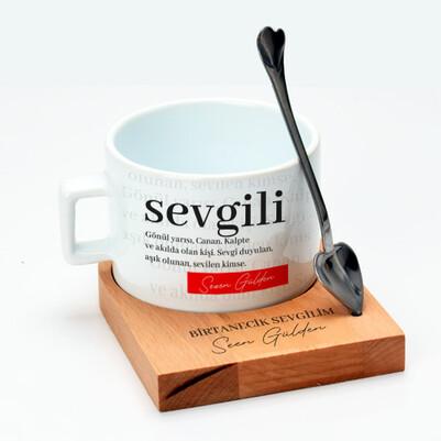 Sevgiliye Hediye Kaşıklı Lüks Çay Fincanı - Thumbnail