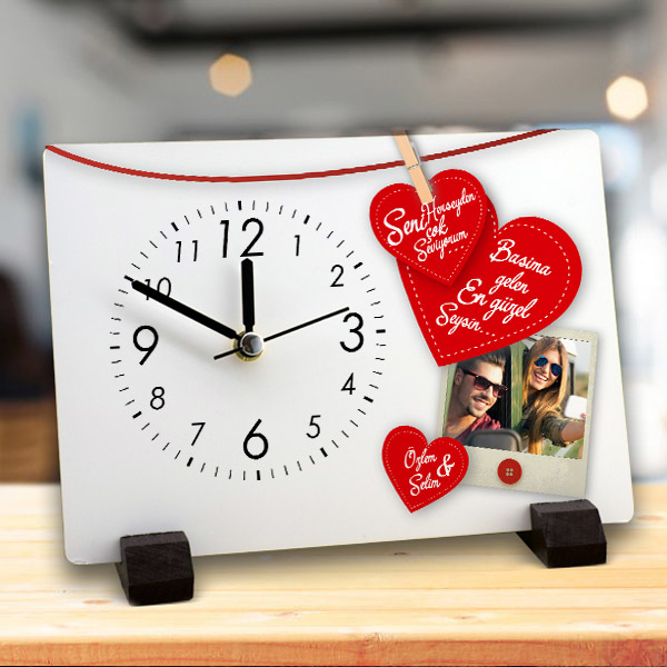 Sevgiliye Hediye Resimli Masa Saati