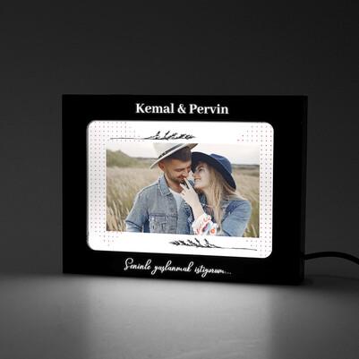 Sevgiliye Işıklı ve Fotoğraflı Resim Çerçevesi - Thumbnail