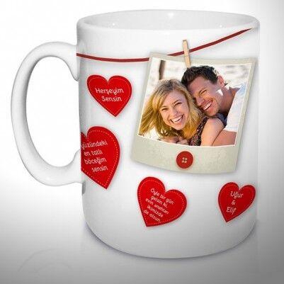 Sevgiliye Özel Konuşan Kalpler Kupa Bardak - Thumbnail
