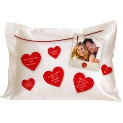 Sevgiliye Özel Mesajlı Kalpler Yastık - Thumbnail