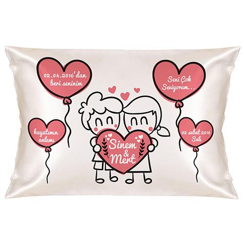 Sevgiliye Özel Mutlu Kalpler Yastık