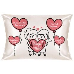 - Sevgiliye Özel Mutlu Kalpler Yastık