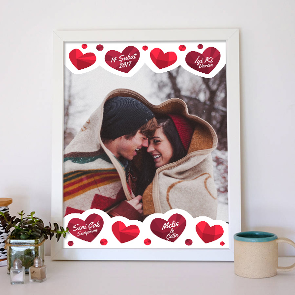 Sevgiliye Özel Sıcak Kalpler Poster