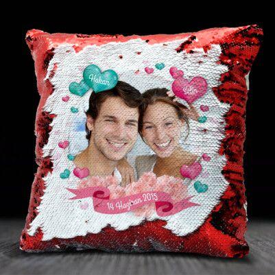 Sevgiliye Sürpriz Fotoğraflı Sihirli Yastık - Thumbnail