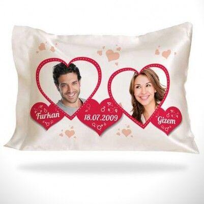 Sevgiliye Özel Fotoğraflı Romantik Yastık - Thumbnail