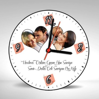 Sevgiliye Özel Fotoğraf ve Mesajlı Duvar Saati - Thumbnail