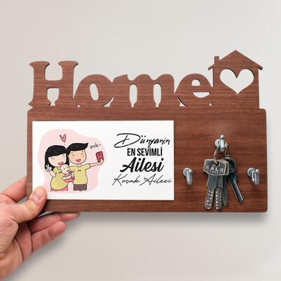 - Sevimli Aile Home Anahtarlık Askısı