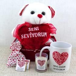 Sevimli Ayıcığın Aşk İlanı Hediye Sepeti - Thumbnail