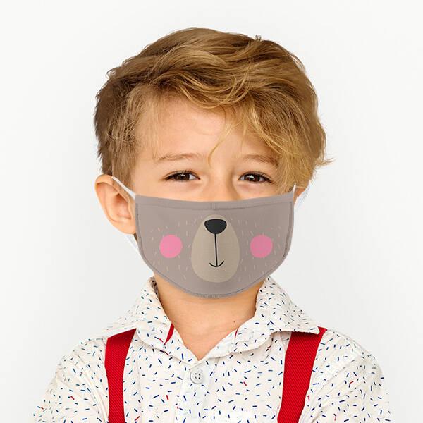 Sevimli Ayıcık Tasarımlı Çocuk Maskesi