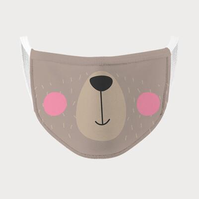 Sevimli Ayıcık Tasarımlı Çocuk Maskesi - Thumbnail