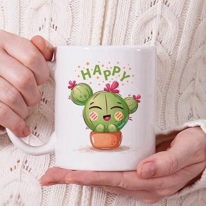 - Sevimli Kaktüs Tasarımlı Kupa Bardak