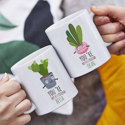Sevimli Kaktüsler İkili Sevgili Kupası - Thumbnail