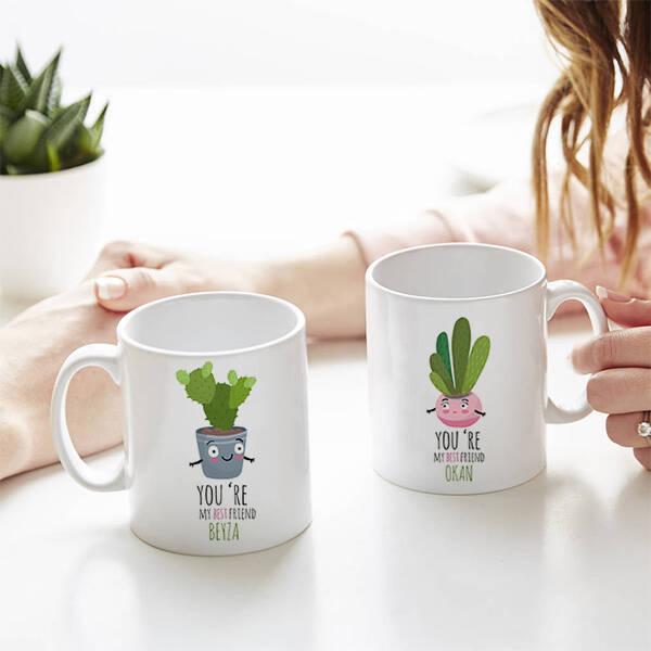 Sevimli Kaktüsler İkili Sevgili Kupası