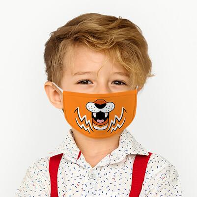 Sevimli Kaplan Yıkanabilir Çocuk Maskesi - Thumbnail