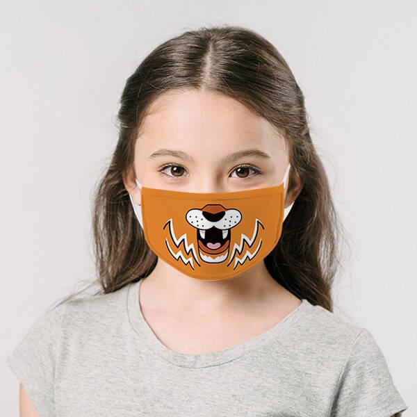 Sevimli Kaplan Yıkanabilir Çocuk Maskesi