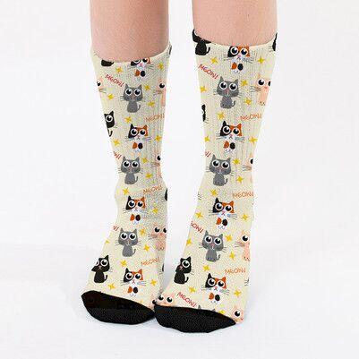 - Sevimli Kedicik Tasarımlı Kadın Çorap