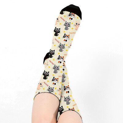 Sevimli Kedicik Tasarımlı Kadın Çorap - Thumbnail