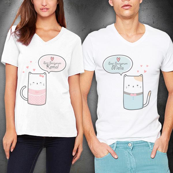 Sevimli Kedicikler 2'li Sevgili Tişörtleri