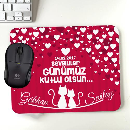 Sevimli Kediler ve Aşk Kalpleri Mousepad