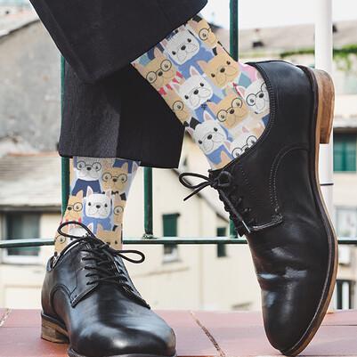 Sevimli Köpek Dostlarımız Tasarım Çorap - Thumbnail