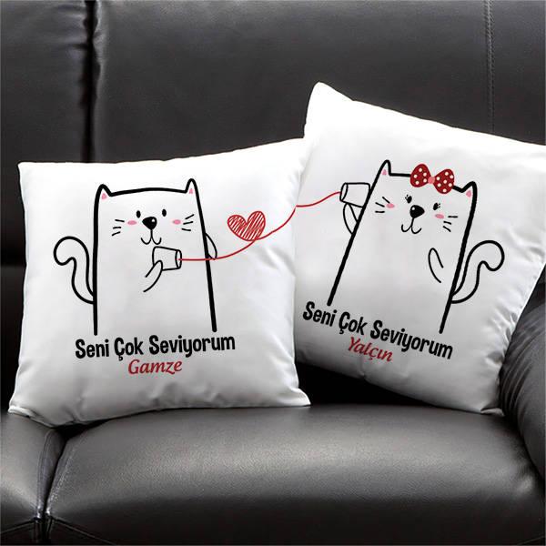 Sevimli Minnoş Kediler İkili Yastık Seti