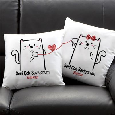 - Sevimli Minnoş Kediler İkili Yastık Seti